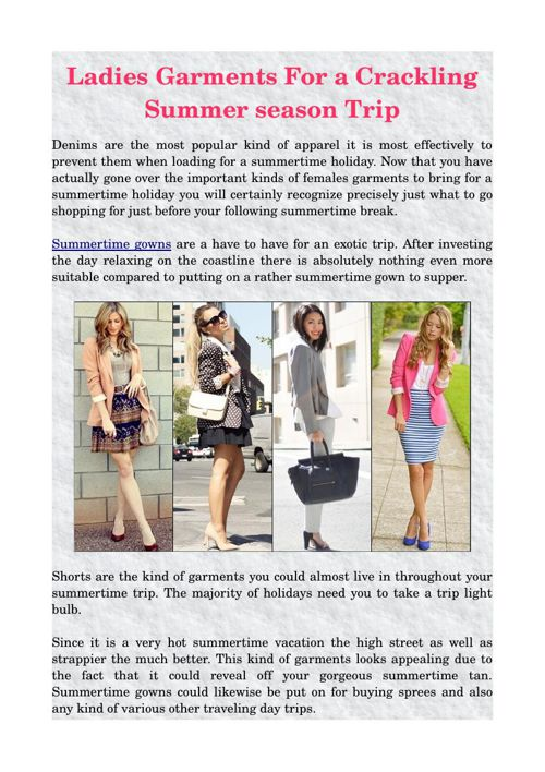Ladies Garments For a Crackling Summer season Trip