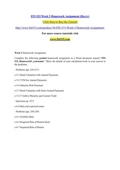 FIN 515 Week 3 Homework Assignment (Devry)