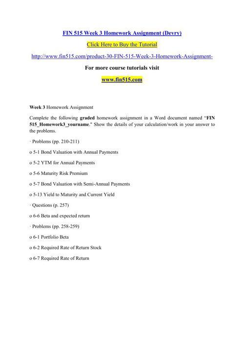 FIN 515 Week 3 Homework Assignment (Devry)