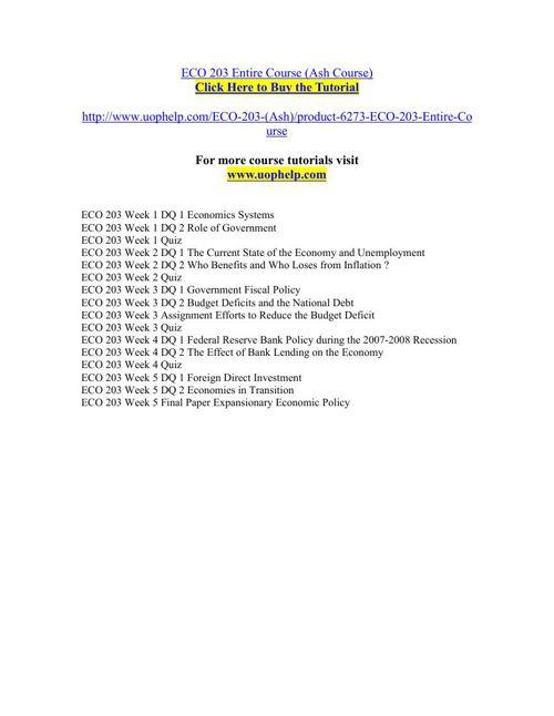 ECO 203 Entire Course (Ash Course)