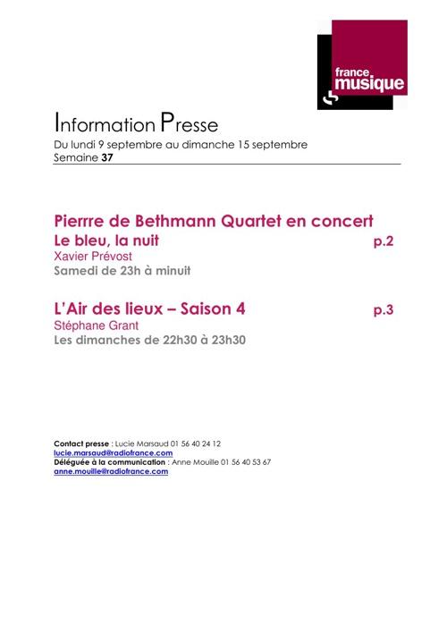 Programmes France Musiquedu 9 au 15 septembre 2013