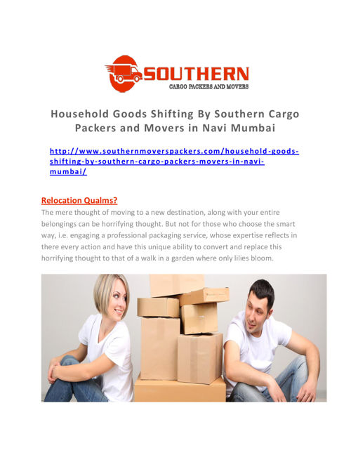 Household Goods Shifting by Southern Cargo Packers and Movers in