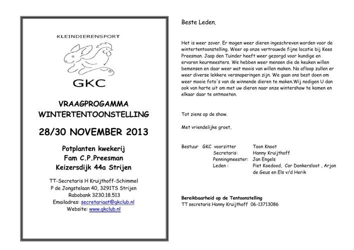 Vraagprogramma Wintertentoonstelling 2013 GKC