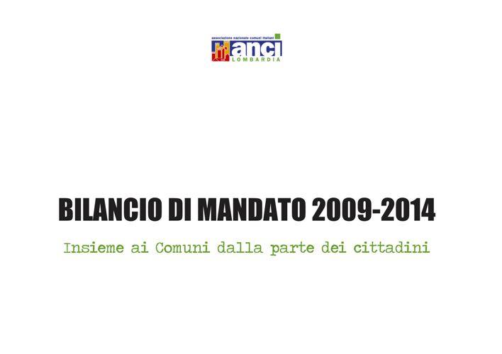 Anci Lombardia Bilancio sociale 2009-2014