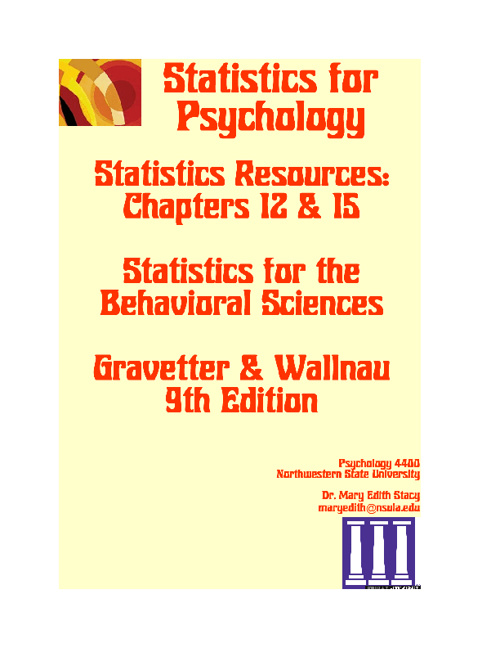 Statistics Resources Chapters 12 & 15