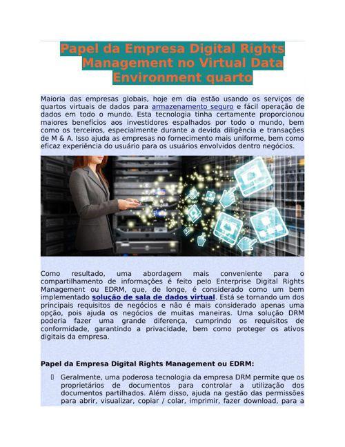 Papel da Empresa Digital Rights Management no Virtual Data Envir