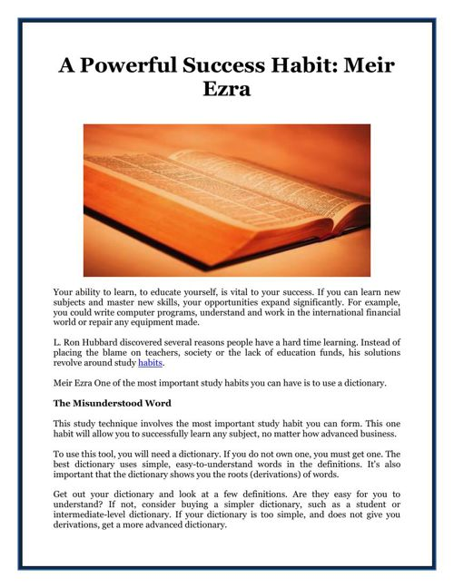 A Powerful Success Habit: Meir Ezra