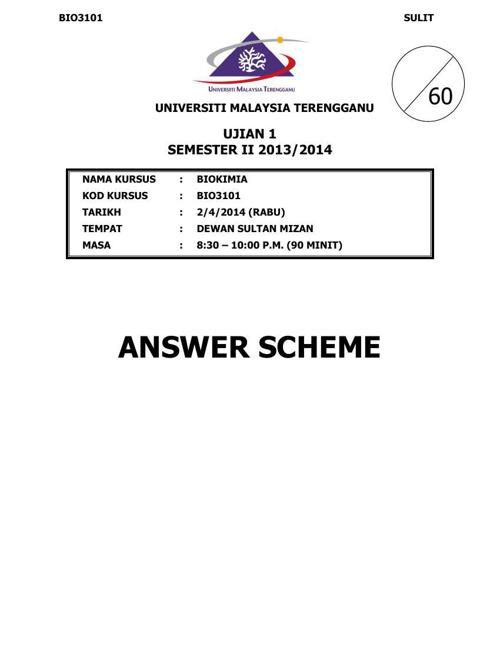 TEST 1 ANSWER SCHEME