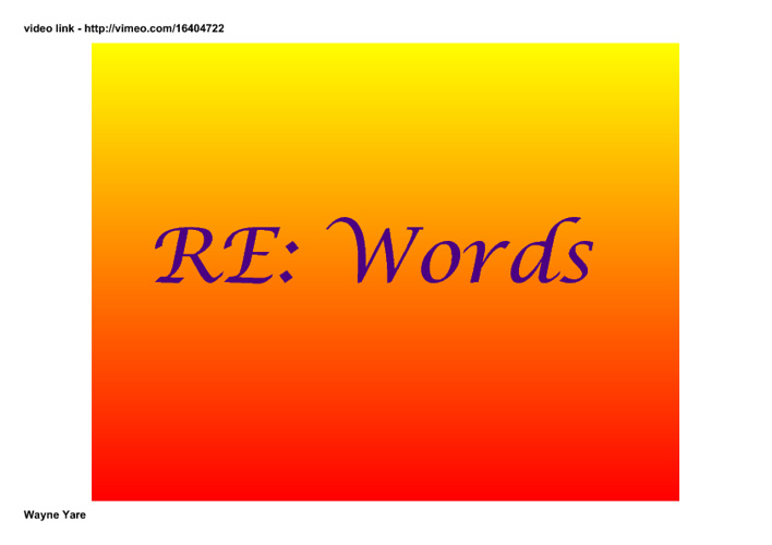 RE: Words