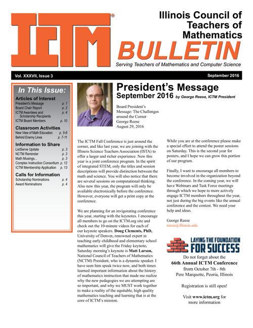 ICTM September 2016 Bulletin