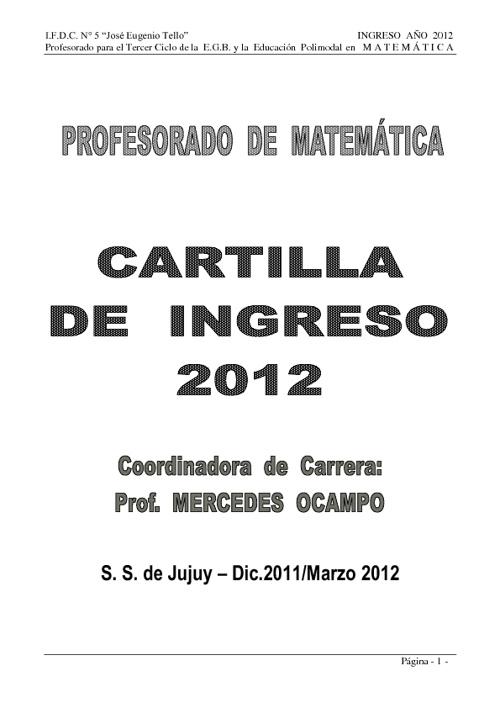 CARTILLA DE INGRESO 2012 PROFESORADO DE MATEMÁTICA