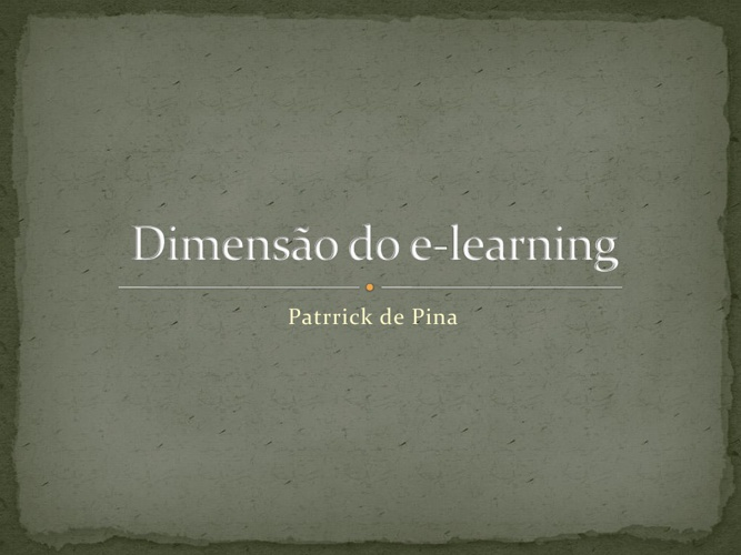 Dimensão do e-learning