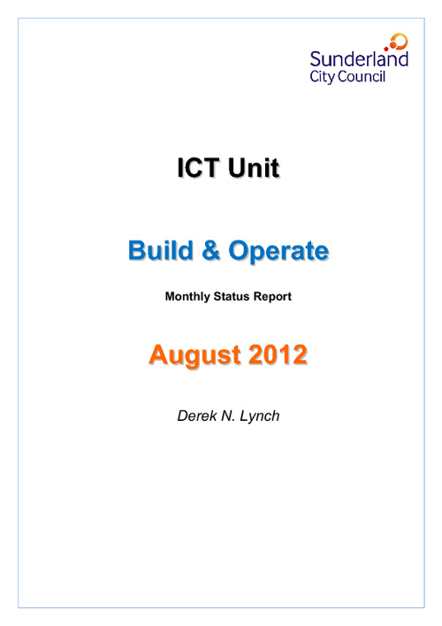 Build & Operate Monthly Report - August 2012