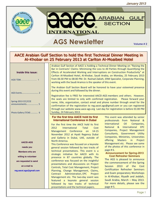 AACE-AGS 2013 News Letter 2
