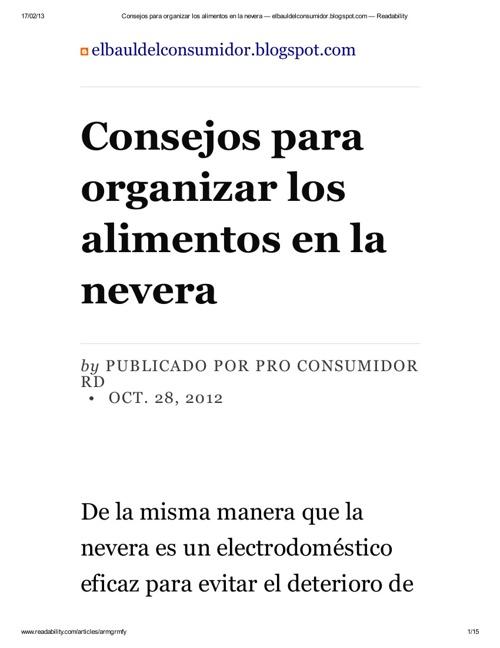 CONSEJOS PARA ALMACENAR LOS ALIMENTOS