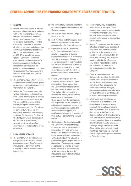 GENERAL CONDITIONS FOR PRODUCT CONFORMITY ASSESSMENT SERVICES EN