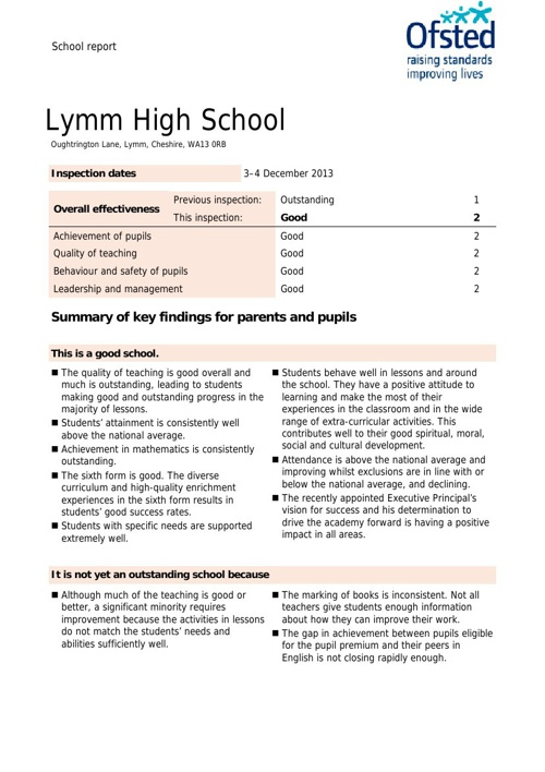 Lymm High School OFSTED Report 2013