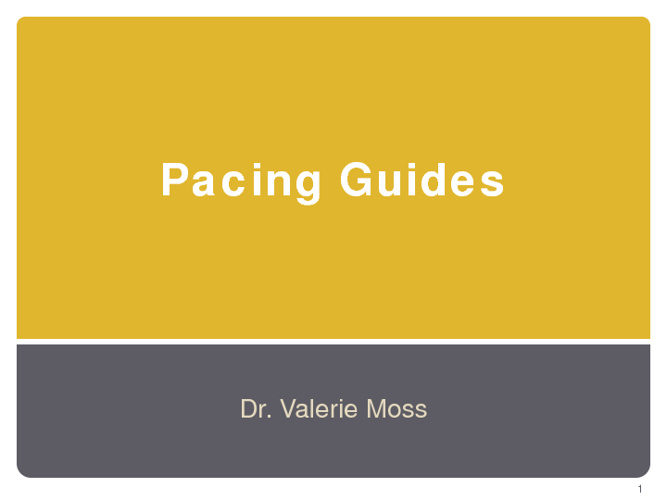 Dr. Moss' Pacing Guides