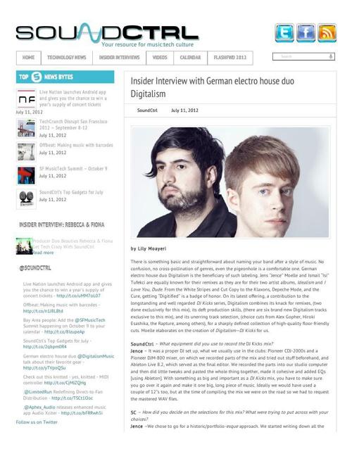 Digitalism for SoundCtrl Published July 11, 2012