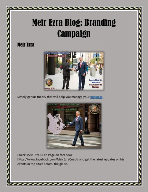 Meir Ezra Blog: Branding Campaign