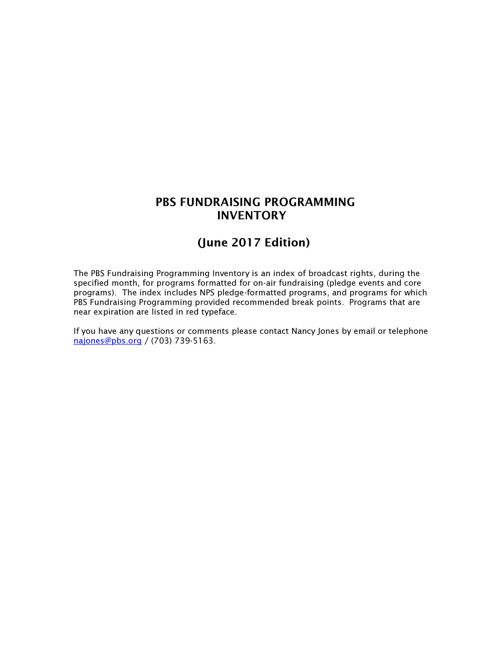 June  2017 Program Inventory