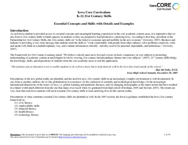 Iowa Core 21st Century Skills