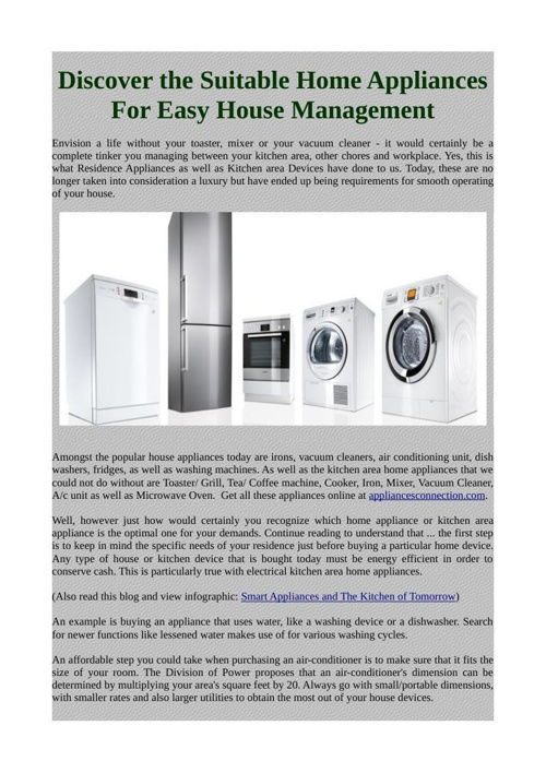 Discover the Suitable Home Appliances For Easy House Management