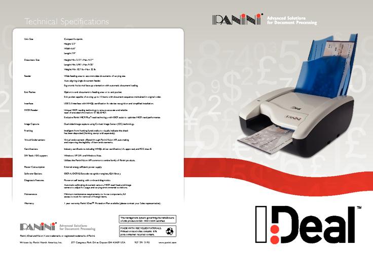 Documentation lecteur chèque I-Deal de chez PANINI