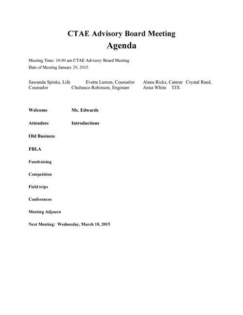 CTAE Advisory Board Meeting AGENDA 2015