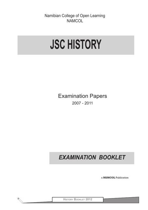 JSC History Examination Booklet (2007 - 2011)