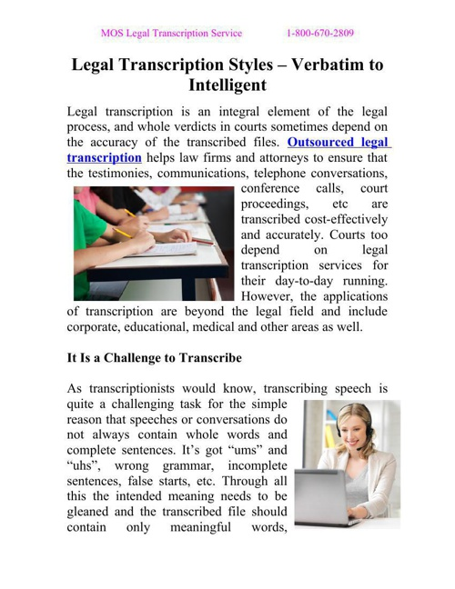 Legal Transcription Styles – Verbatim to Intelligent