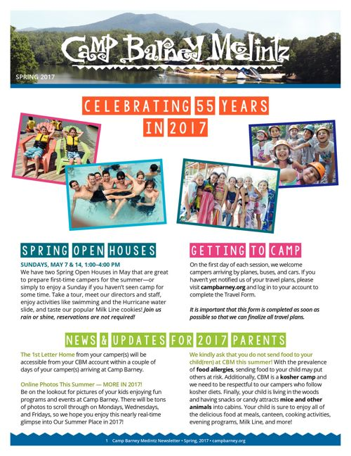 Camp Barney Medintz Newsletter Spring 2017