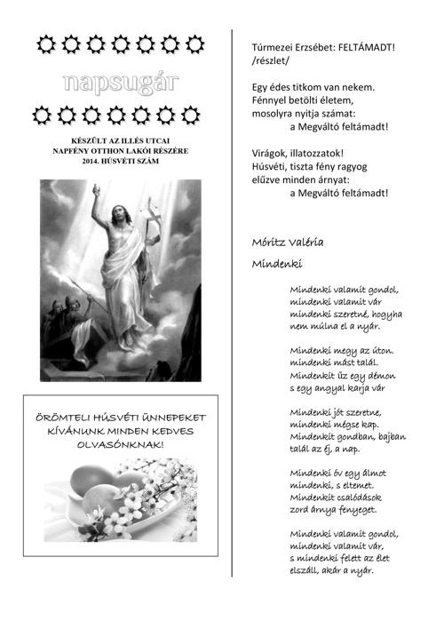 Napsugár újság - 2014 tavaszi szám