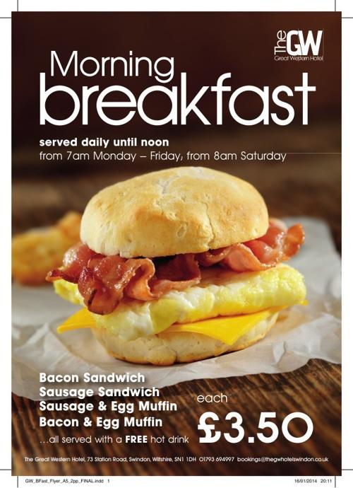 The Great Western Hotel Breakfast Menu