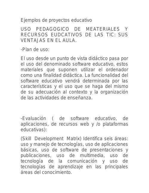 Ejemplos de proyectos educativo