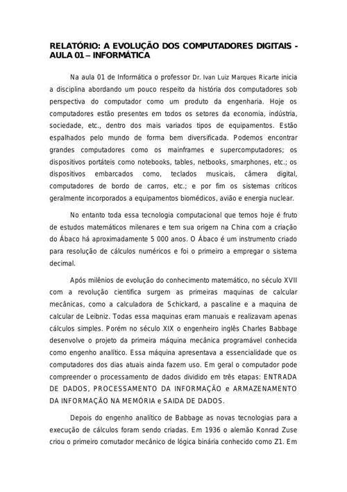 Relatório Aula 01 - Informática