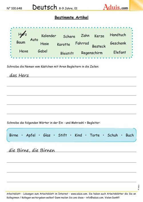 Artikel im Deutschunterricht. Übungen AB