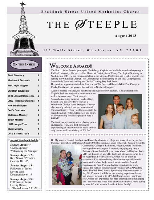 2013 July/August Steeple Newsletter