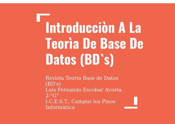 Teorìa Bases De Datos (BD`s)