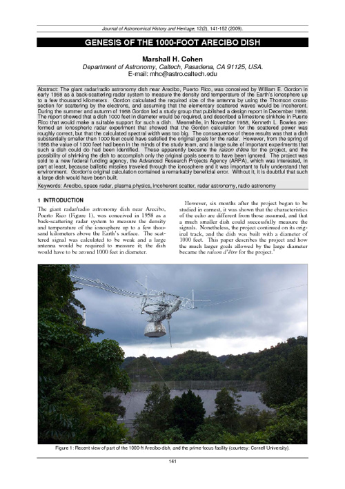 Marshall Cohen, on the genesis of the Arecibo 1000 ft dish.