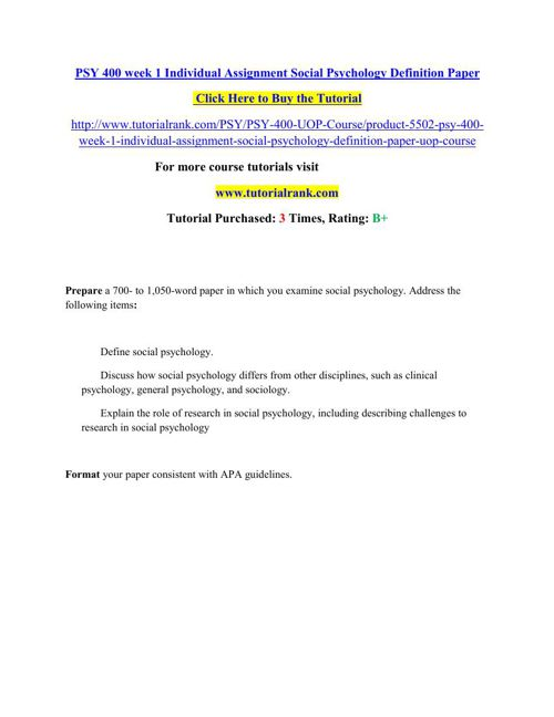 PSY 400 Students Guide / Tutorialrank.com