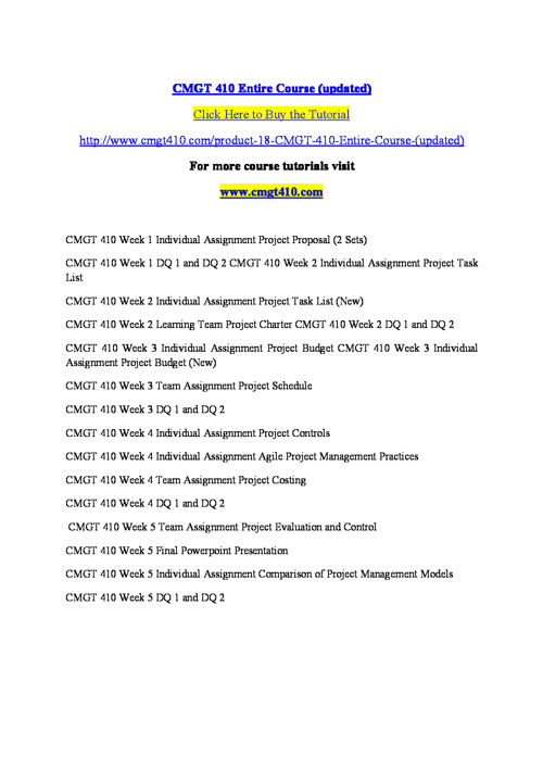 CMGT 410 Entire Course (updated)