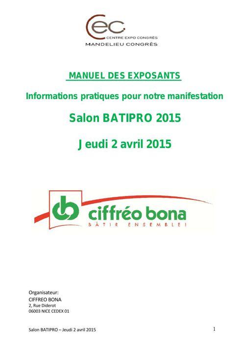 MANUEL DES EXPOSANTS - BATIPRO 2015 - Copie - Copie
