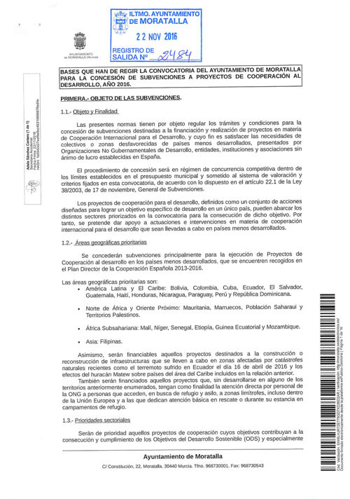 BASES SUBVENCIONES A PROYECTOS COOPERACIÓN
