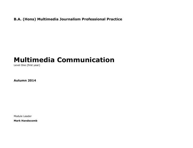 Multimedia Communications Module Handbook 2014  15