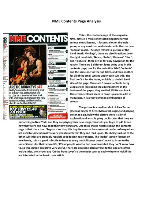 NME Contents Page Analysis
