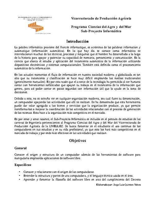 Información General del Sub-proyecto Informática