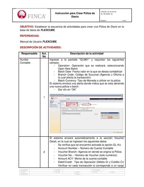 GLM01 Crear Póliza Diario