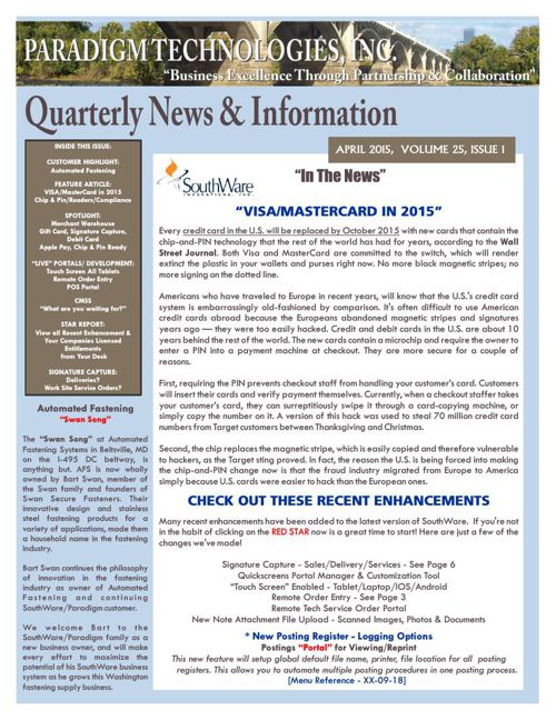 Paradigm Technologies - Quarterly News & Information - April 201