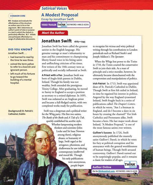 a modern modest proposal Read expert analysis on historical context in a modest proposal.
